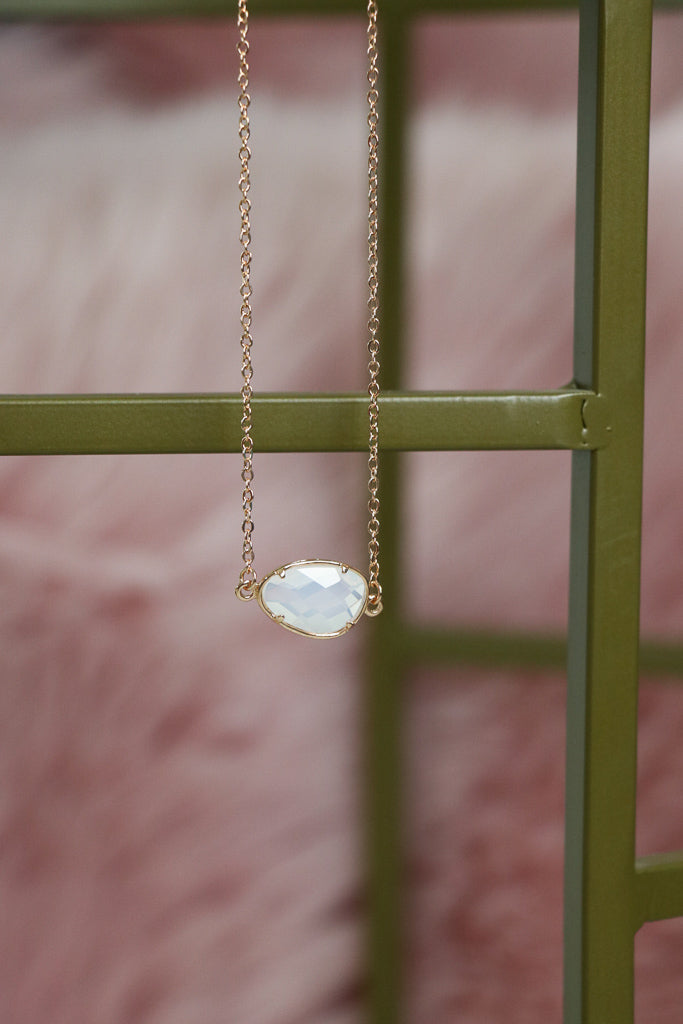 OS / Gold Gold Wrapped Opal Necklace - Madison + Mallory