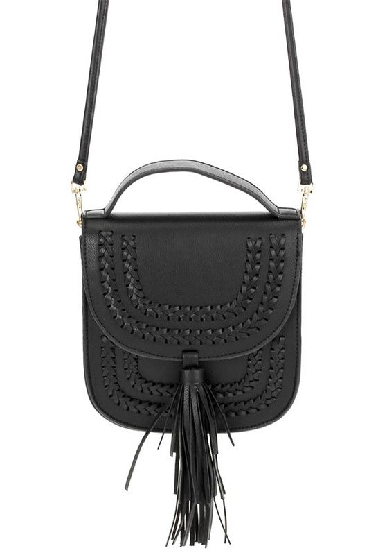 OS / Black Along the Way Stitched Tassel Crossbody Bag + MORE COLORS - Madison + Mallory