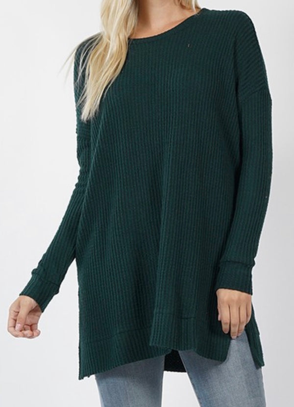 Hunter Green / S Holden Waffle Knit Top - Madison + Mallory