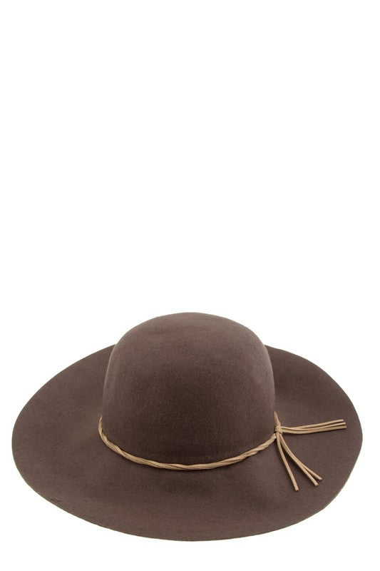 Brown Faux Leather Strap Accent Floppy Hat