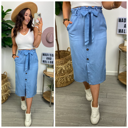 Adding to the Fun Chambray Belted Midi Skirt - Madison and Mallory