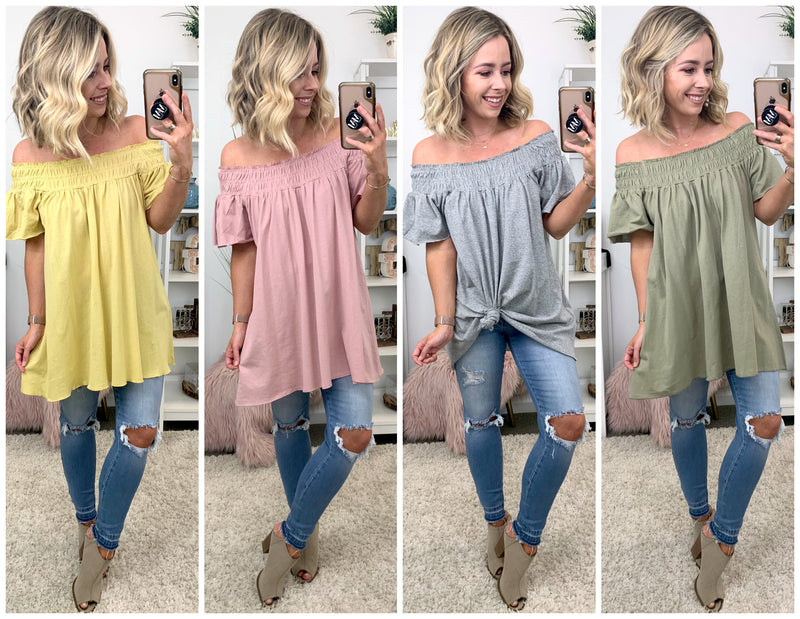 Alice Smocked Off Shoulder Tunic Top - Madison + Mallory