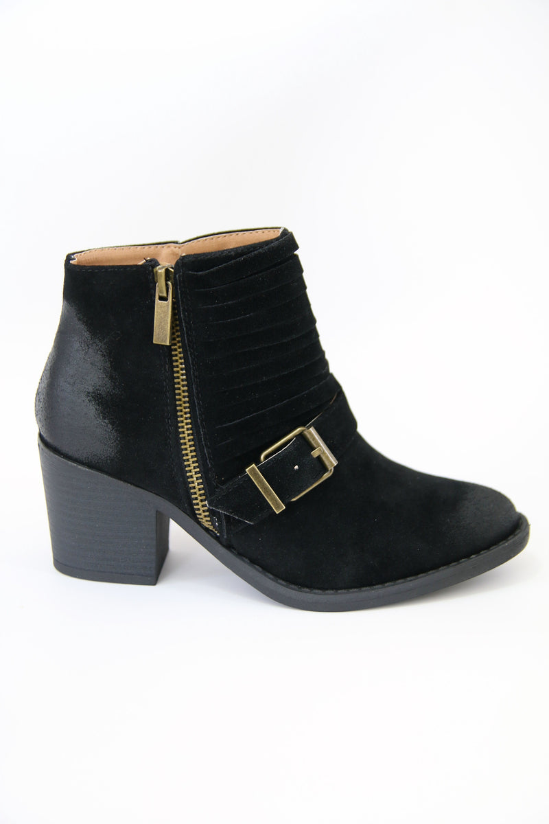 5.5 / Black Black Buckled Bootie - Madison + Mallory