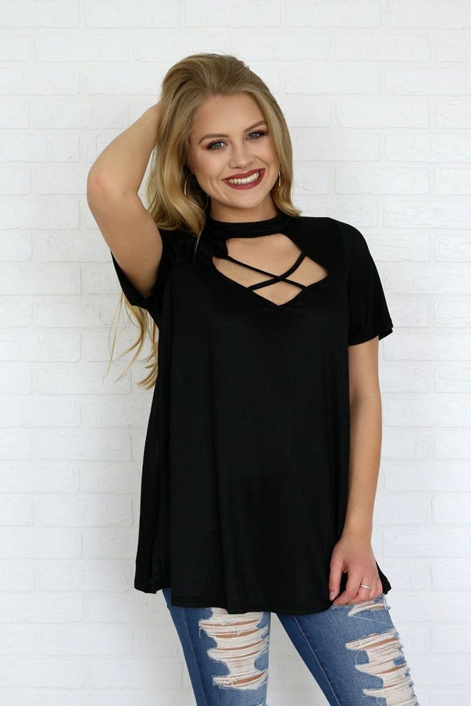 Criss Cross Cutout High Neck Top