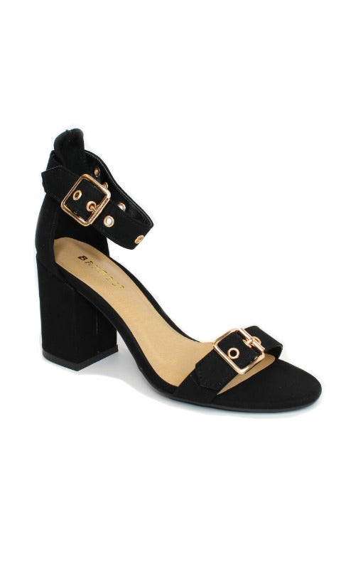6 / Black Buckle Detail Strappy Heels - Madison + Mallory