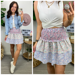 Blossoming Style Multi Floral Print Smocked Skirt - Madison and Mallory