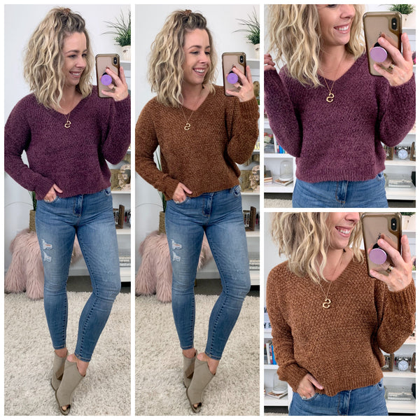 Chasing a Memory V-Neck Sweater - Madison + Mallory