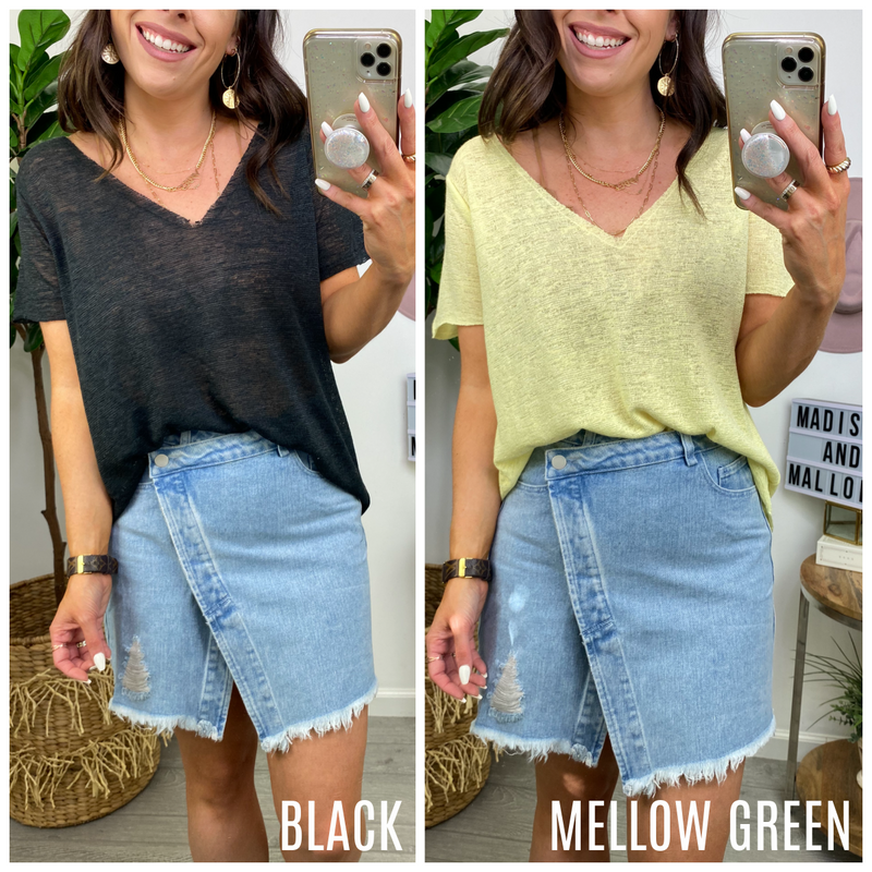 Clue Me In V-Neck Short Sleeve Top (MORE COLORS) - Madison and Mallory