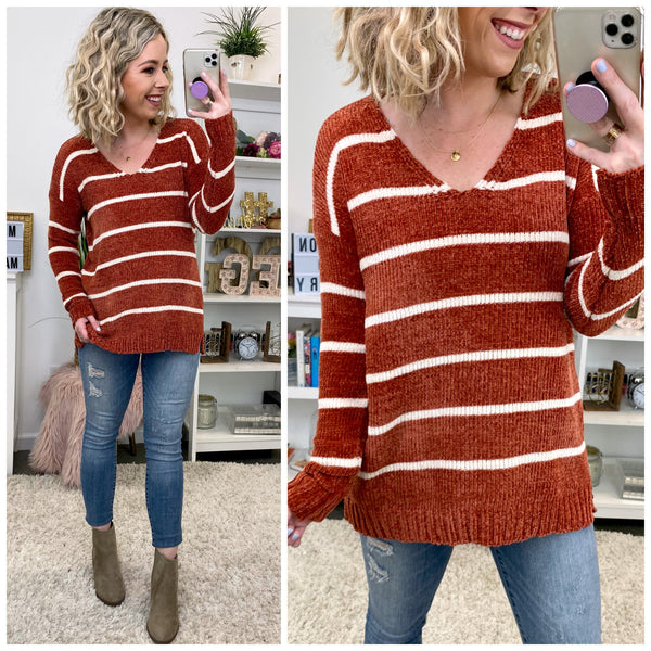 Countdown Chenille Striped Sweater - Madison + Mallory