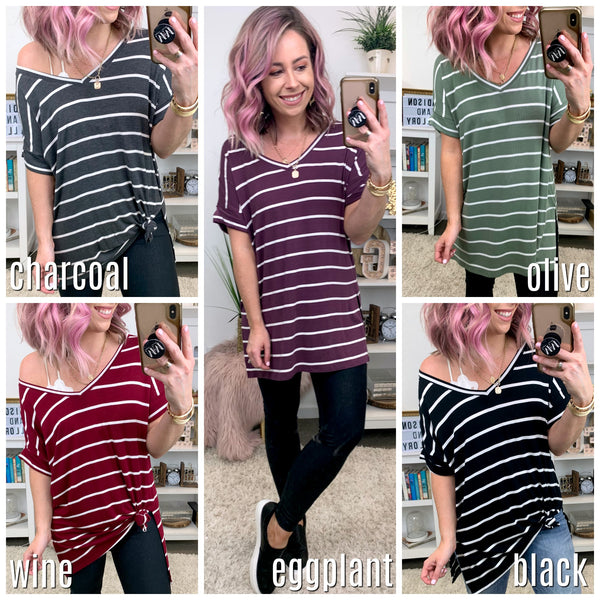 Cyrus Striped Rolled Sleeve Top - Madison + Mallory