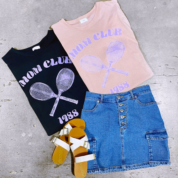 Mom Club Tennis Graphic Top