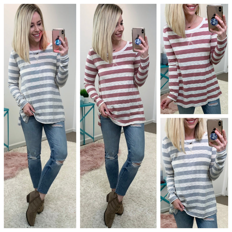 Cary Striped Knit Top - Madison + Mallory