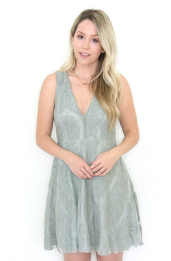 S / Sage Lace V-Neck Sleeveless Lace Dress - Madison + Mallory