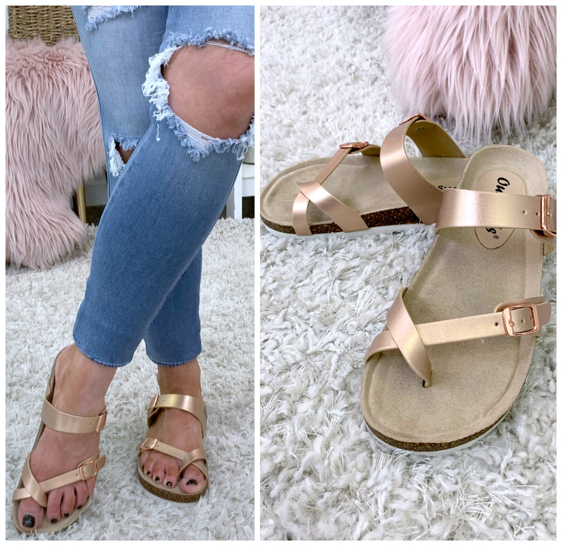 Del Sol Strappy Buckle Sandals - Rose Gold - FINAL SALE - Madison + Mallory