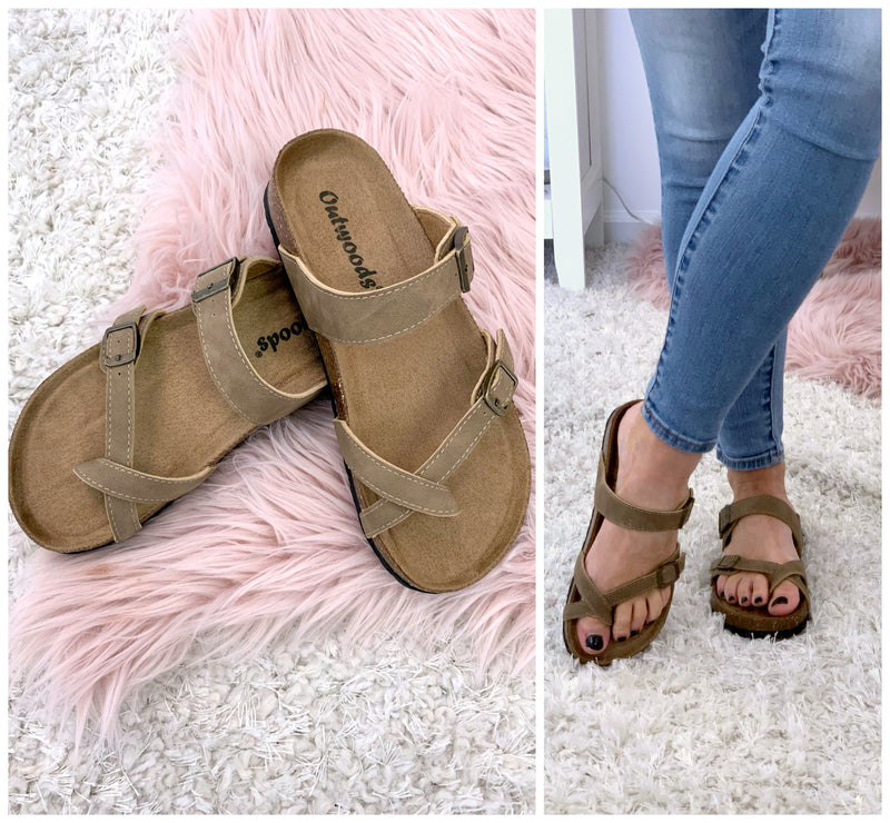 Del Sol Strappy Buckle Sandals - Taupe - FINAL SALE - Madison + Mallory