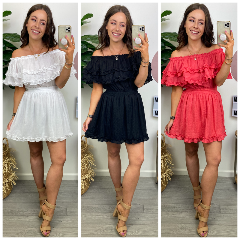 Delaine Off Shoulder Flounce Dress - Madison and Mallory