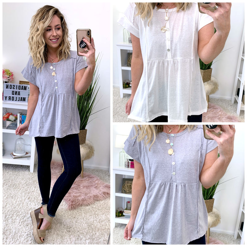 Denver Raw Edge Button Top - Madison + Mallory