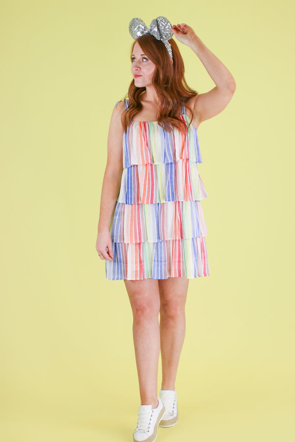 Rainbow Popsicle Tiered Dress - Madison and Mallory