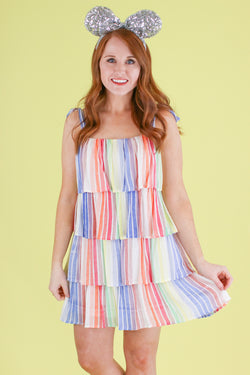 S / Rainbow Rainbow Popsicle Tiered Dress - Madison and Mallory