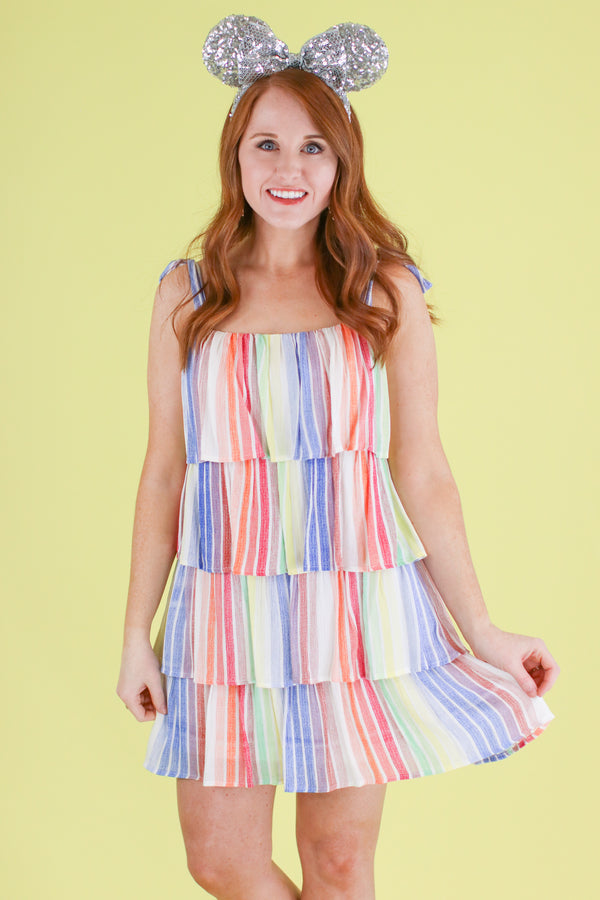 S / Rainbow Rainbow Popsicle Tiered Dress - FINAL SALE - Madison and Mallory
