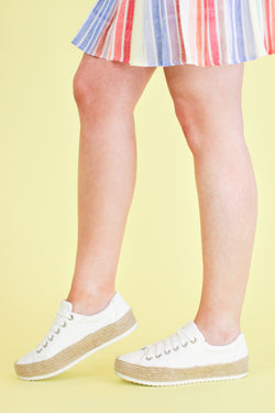 5.5 / White Keana Espadrille Platform Sneakers - Madison and Mallory