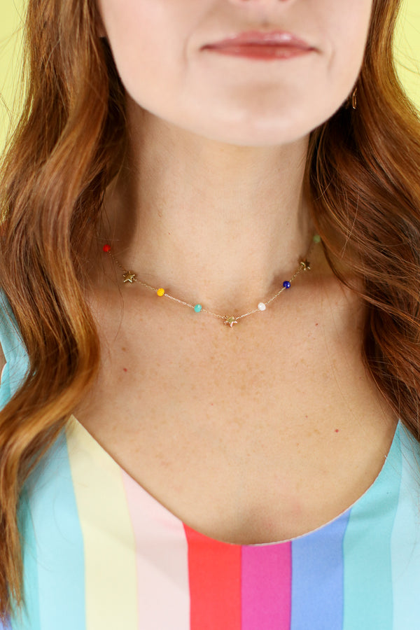 Rainbow Stars Beaded Necklace - Madison and Mallory