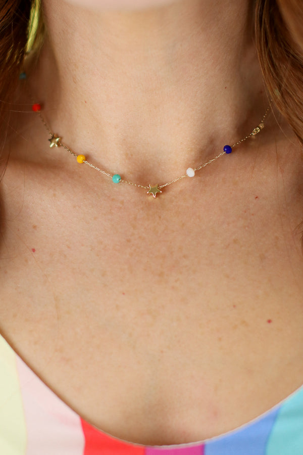 Multi Rainbow Stars Beaded Necklace - Madison and Mallory