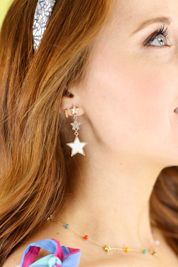 Pearl Dazzling Star Drop Earrings - Madison and Mallory