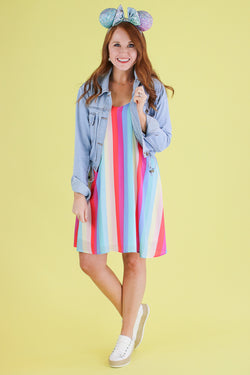 Purple / S Tea Party Rainbow Striped Dress - Madison and Mallory