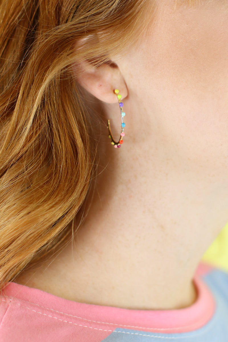Multi As You Please Rainbow Hoop Earrings - Madison and Mallory