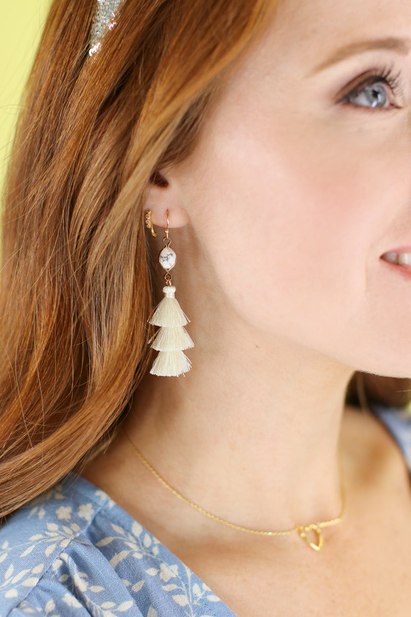 Ivory Love You Forever Tassel Earrings - Madison and Mallory