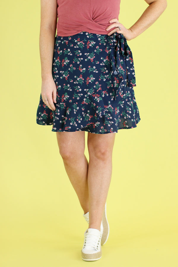 S / Navy Fancy Free Floral Wrap Skirt - FINAL SALE - Madison and Mallory