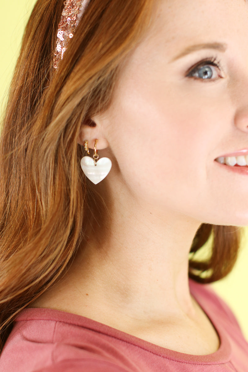 Pearl Love Story Heart Drop Earrings - Madison and Mallory