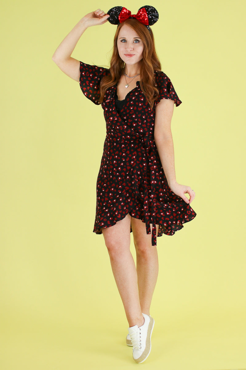 Love Talk Heart Leopard Wrap Dress - Madison and Mallory