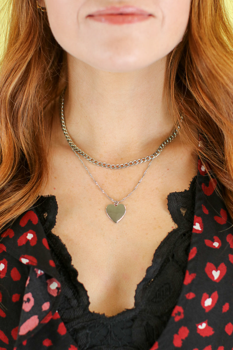 Silver Love You Layered Chain Necklace - Madison and Mallory