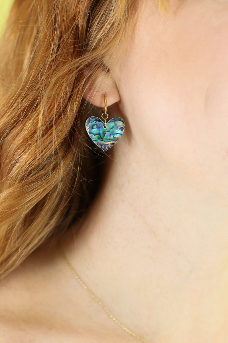 Abalone Love Story Heart Drop Earrings - Madison and Mallory