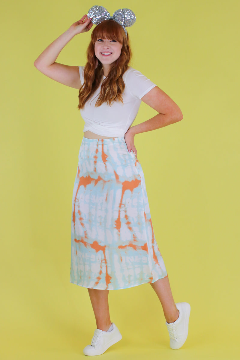 S / Blue Zephyr Tie Dye Satin Skirt - FINAL SALE - Madison and Mallory