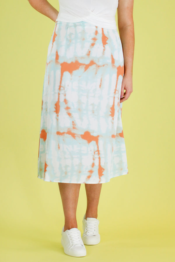 Zephyr Tie Dye Satin Skirt - Madison and Mallory