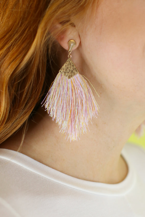 Shake It Up Tassel Earrings - Light Multi - Madison and Mallory