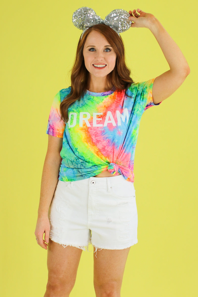 S / Pink Dream Tie Dye Graphic Top - Madison and Mallory