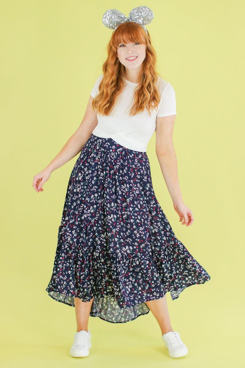 S / Navy Smooth Operator Floral Ruffle Skirt - Madison and Mallory