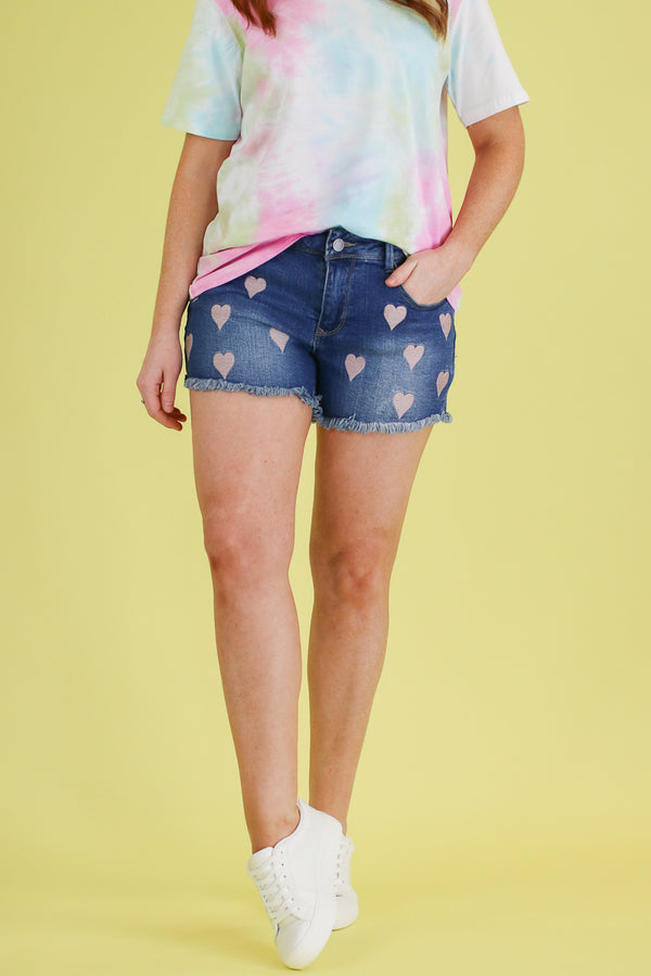 S / MD Wash Happy Hearts Denim Shorts - FINAL SALE - Madison and Mallory