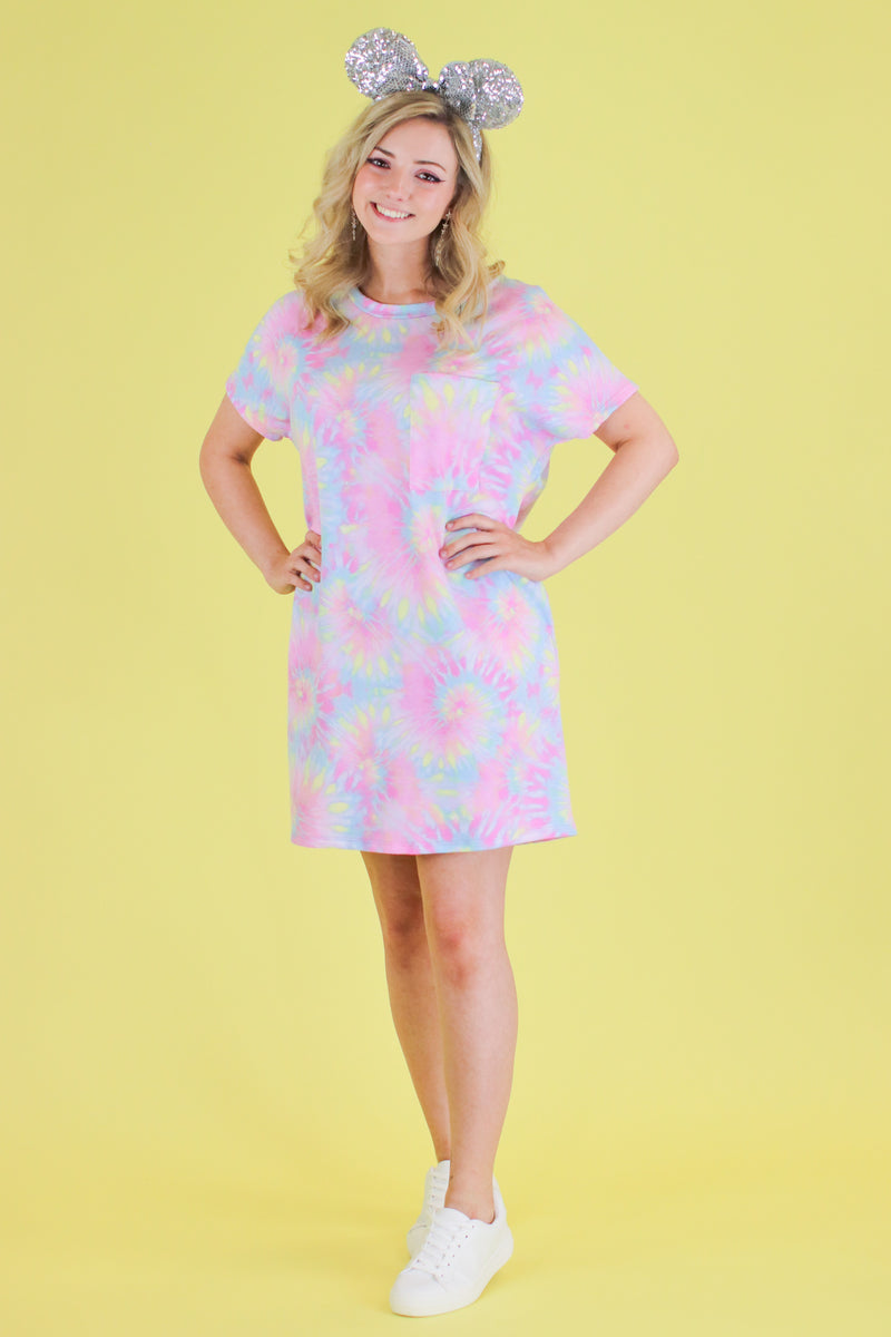 S / Pink Daughtry Tie Dye Shirt Dress - FINAL SALE - Madison and Mallory
