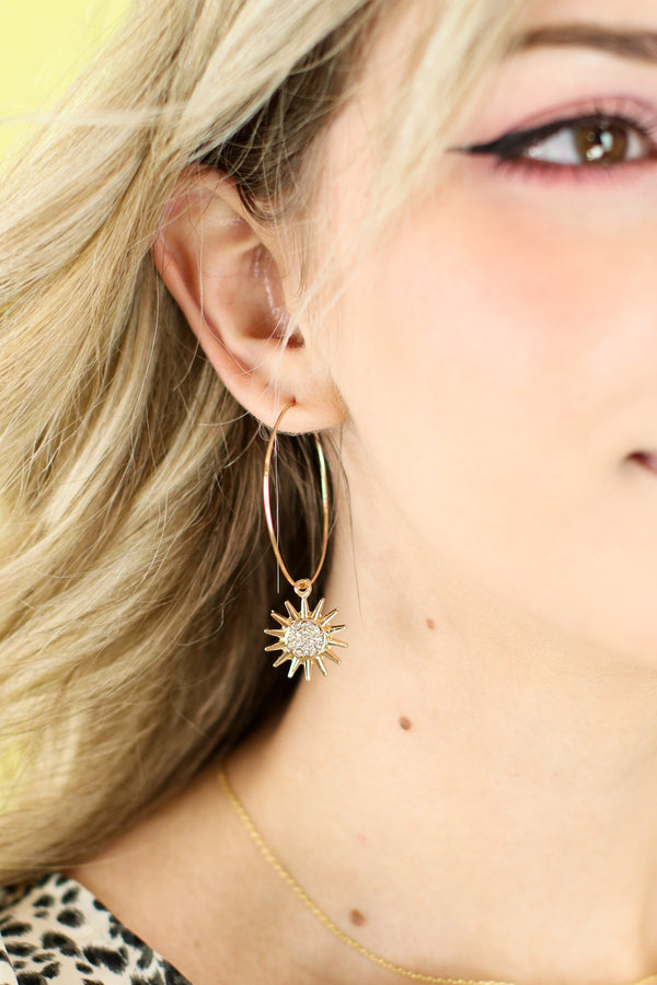 Solar Pave Sun Dangle Hoops - Madison and Mallory