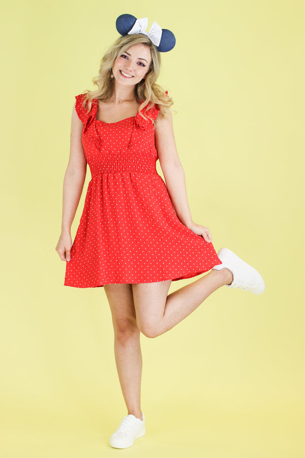 S / Red Magic Happens Polka Dot Ruffle Dress - Madison and Mallory