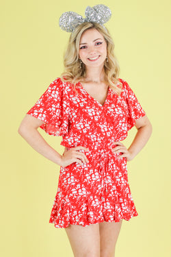S / Red Darling Daisies Floral Romper | CURVE - Madison and Mallory