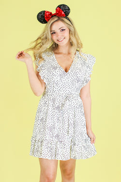 S / Off White Spot in My Heart Polka Dot Dress - Madison and Mallory