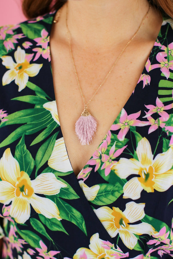 Pink Damia Fan Tassel Necklace - Madison and Mallory