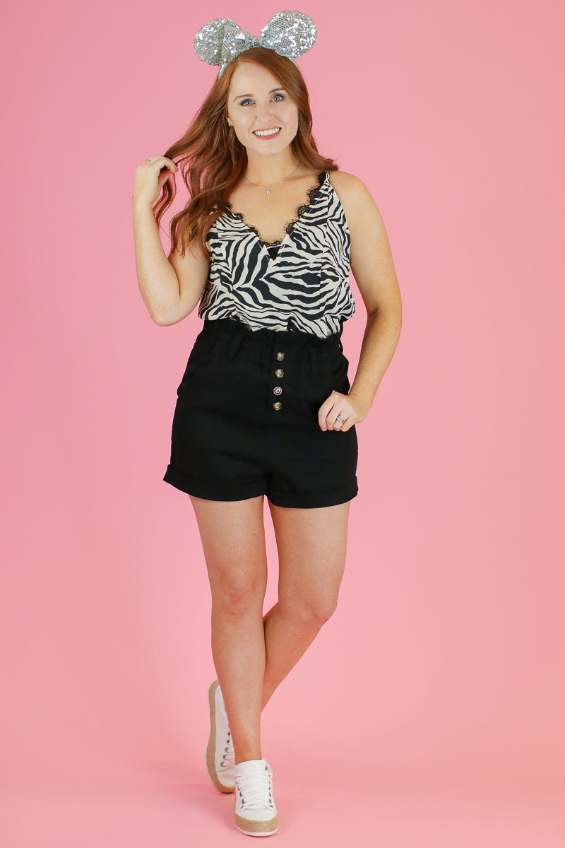 S / Black Keep Confident Button Paper Bag Shorts - Madison and Mallory