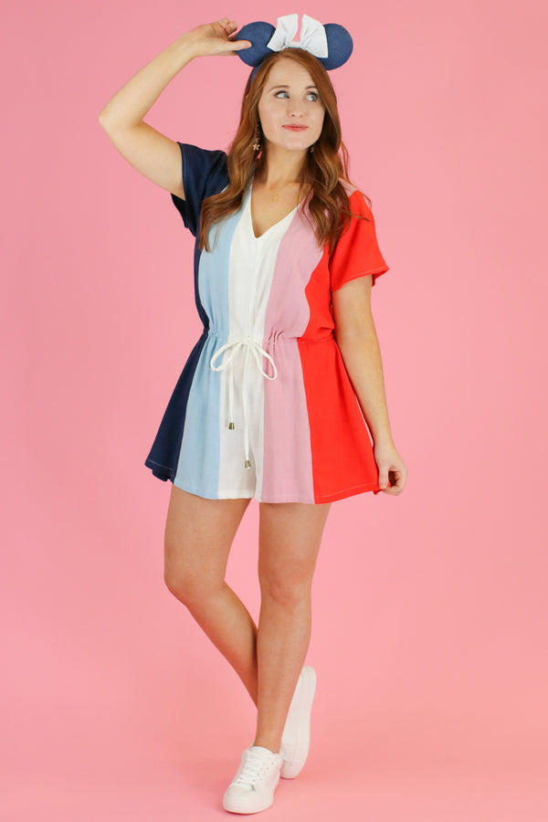Vive La France Color Block Romper | CURVE - Madison and Mallory
